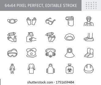 Medical PPE line icons. Vector illustration included icon as face mask, gloves, doctor gown, hair cover, biohazard waste, outline pictogram of protective equipment. 64x64 Pixel Perfect Editable Stroke