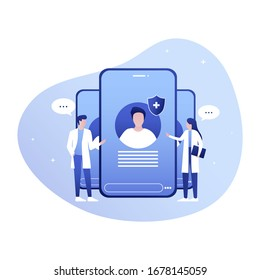 Medical Practitioners Give Consultation. Online Illness Discussion with Patient Suffering from Pain. Board of Doctors. Smart Medicine, Telemedicine. Vector Cartoon Illustration