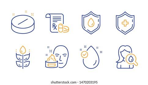 Medical prescription, Blood donation and Gluten free line icons set. Medical shield, Vitamin e and Face cream signs. Moisturizing cream symbol. Medicine drugs, Medicine analyze. Vector