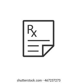Medical prescription icon in single grey color. Medicine doctor healthcare
