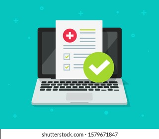 Medical prescription digitaldocument or online test results report on laptop computer screen vector illustration, pc with online healthy electronic check list from, on-line internet medicine