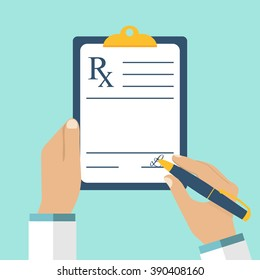 Medical prescription pad. Vector illustration flat design style. Medical background, template.