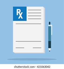 Medical prescription vector illustration. Rx form.