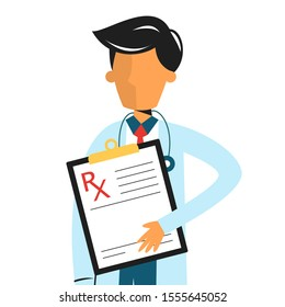 Medical prescription. White empty document form on the clipboard. List of medication for patient. Medical heathcare. Doctor holding prescription.