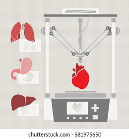 Medical printer for human organs replicated. 3D Bio-printer. Vector illustration