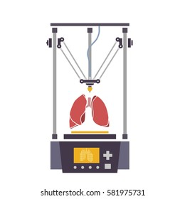 Medical printer for human organs replicated. 3D Bio-printer. Vector illustration