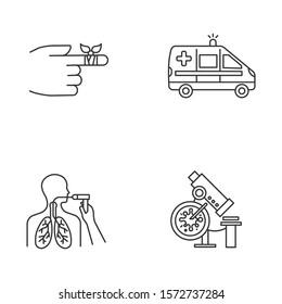 Medical procedure linear icons set. Bandaging hurt finger. Emergency care. Ambulance. Bronchoscopy. Infection test. Thin line contour symbols. Isolated vector outline illustrations. Editable stroke