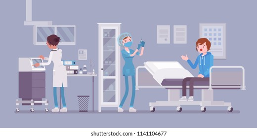 Medical procedures in doctors office. Hospital room or clinic to receive and treat, nurse diagnosing patient, making injection. Medicine and healthcare concept. Vector flat style cartoon illustration