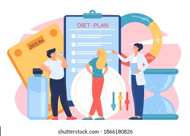 Medical professional approach to the problems of obesity. People with overweight problems at a nutritionist appointment. Vector cartoon Illustration.