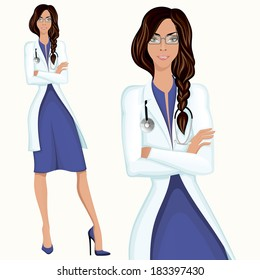 Medical professional attractive young doctor assistant employee standing in white lab coat vector illustration