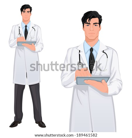 Medical professional handsome young doctor assistant standing in white lab coat with touch screen tablet PC vector illustration