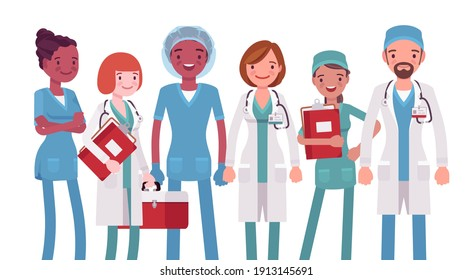 Medical professionals, clinic doctors, hospital nurses, emergency technicians. Diverse group of healthcare workers wearing sanitary clothing. Vector flat style cartoon illustration on white background