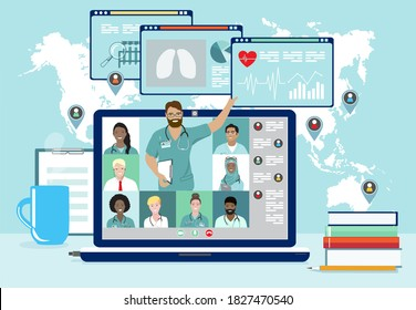 Medical professionals remotely discussion or consulting videoconference at laptop screen vector banner. Online webinar, medicine distance courses. Doctor teaching to academic students in virtual class