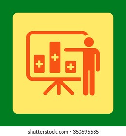 Medical Public Report vector icon. Style is flat rounded square button, orange and yellow colors, green background.