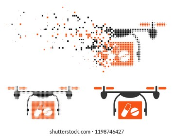 Medical quadcopter icon in disappearing, dotted halftone and undamaged entire versions. Particles are combined into vector disappearing medical quadcopter shape.