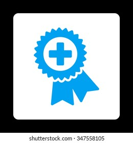 Medical Quality Seal vector icon. Style is flat rounded square button, blue and white colors, black background.