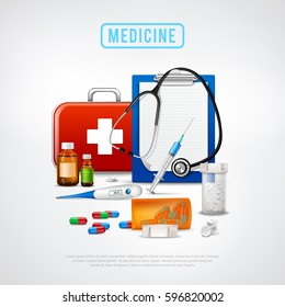 Medical realistic background with first aid box thermometer binaural stethoscope pills vials and syringe with text vector illustration