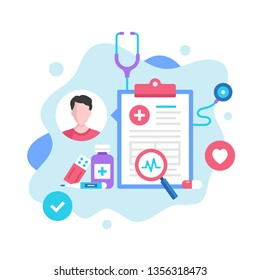 Medical record concept. Vector illustration. Medical diagnosis, medical history, patient card. Modern flat design graphic elements for websites, web pages, templates, infographics, web banners, etc.