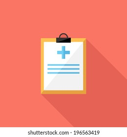 Medical record icon. Flat design style modern vector illustration. Isolated on stylish color background. Flat long shadow icon. Elements in flat design.