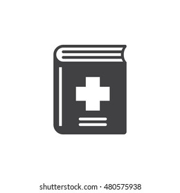 Medical records book icon vector, solid logo illustration, pictogram isolated on white