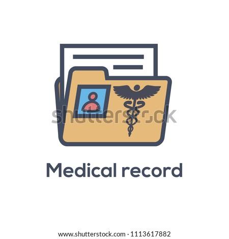medical records icon caduceus personal health stock vector royalty
