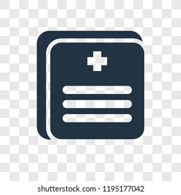 Medical records vector icon isolated on transparent background, Medical records transparency logo concept