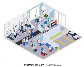 Medical rehabilitation physiotherapy center interior reception exercises massage treatment and exterior parking lot isometric view vector illustration