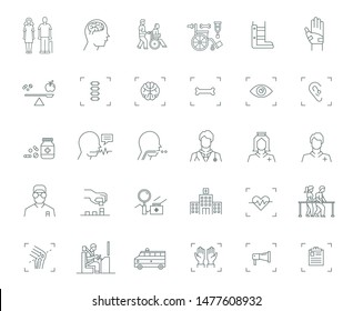 medical and rehabilitation service icon set for elderly and disability people