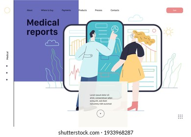 Medical report application -medical insurance web page template -modern flat vector concept digital illustration -patient and a doctor using medical application with reports and test results, metaphor