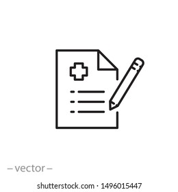 medical report icon, clinic clipboard, hospital aid, diagnosis thin line web symbol on white background - editable stroke vector illustration eps10