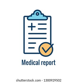 Medical Report outline / line flat vector icon - mobile application or button design. Vector design logo for mobile app