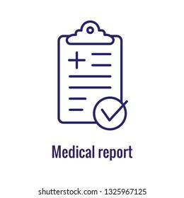 Medical Report outline / line flat vector icon - mobile application or button design. Vector design logo for mobile app