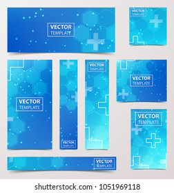 Medical research banner with technological, scientific, abstract, geometric background. Set web banner templates for advertising and attracting customers with polygonal abstract shapes, circles, lines