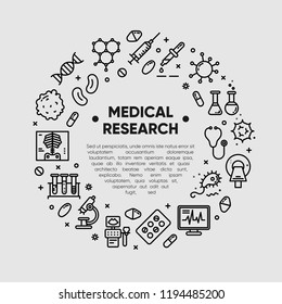 Medical research, clinical laboratory, lab tests & healthcare, medical equipment design element. Medical science, microbiology, virology study, immune system and genetics analysis. Vector outline icon