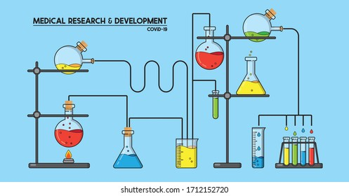 Medical research and development illustration on blue background. Cartoon experiment with various chemicals in flasks, in search for a treatment, cure or a vaccine for Covid-19. EPS10 vector format.