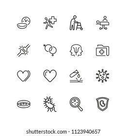 Medical research icons. Set of line icons. Urgent help, heart decease, virus. Medical research concept. Illustration can be used for topics like decease prevention, medication, health care.