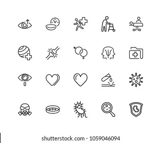 Medical research icons. Set of twenty line icons. Urgent help, heart decease, virus. Medical research concept. Vector illustration can be used for topics like decease prevention, medication