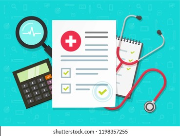 Medical research report or contract vector, flat cartoon health or medical record paper or insurance document on work desk top view, concept of medicine check list, approved good test analyze