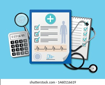Medical research report or contract vector, flat cartoon health or medical paper record or insurance document on the desktop from above, medicine concept checklist,.