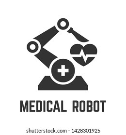 Medical robot icon with healthcare robot-assisted surgery for remote operation glyph symbol.