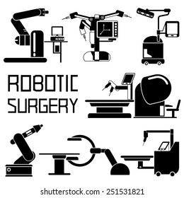 medical robot icons, robot-assisted surgery set, computer-assisted surgery