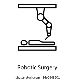 Medical robot, robot surgery icon in line icon