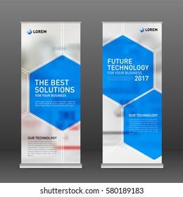 Medical roll up banner design layout. Vertical banner design template.