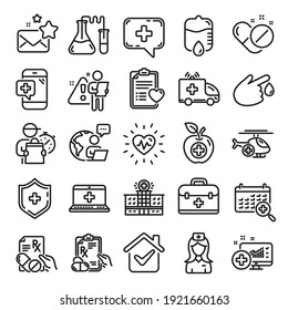 Medical rx line icons. Hospital assistance, Ambulance, Health food diet, Laboratory tubes icons. First aid kit, Medical doctor, Prescription Rx recipe. Drop counter, Ambulance emergency car. Vector