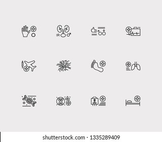 Medical sciences icons set. Angiology and medical sciences icons with sexual health, emergency medicine and transplantation medicine. Set of approve for web app logo UI design.