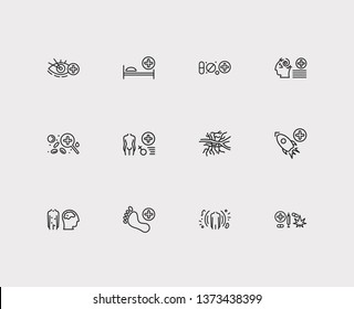 Medical sciences icons set. Angiology and medical sciences icons with immunology, ophthalmology and space medicine. Set of person for web app logo UI design.