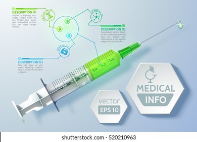Medical scientific concept with syringe schedule hexagons in realistic style on light background isolated vector illustration