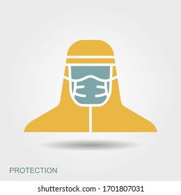 Medical scientist, bacteriologist, doctor with protective mask and protective clothes. Flat icon with shadow. Vector illustration