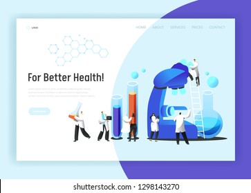 Medical Scientist Laboratory Microscope Test Landing Page. Chemistry Engineer Character Research Pharmacology Experiment in Beaker for Website or Web Page Flat Vector Cartoon Illustration