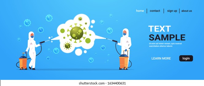 medical scientists in hazmat suits cleaning and disinfecting coronavirus cells epidemic MERS-CoV virus concept wuhan 2019-nCoV pandemic health risk full length horizontal copy space vector